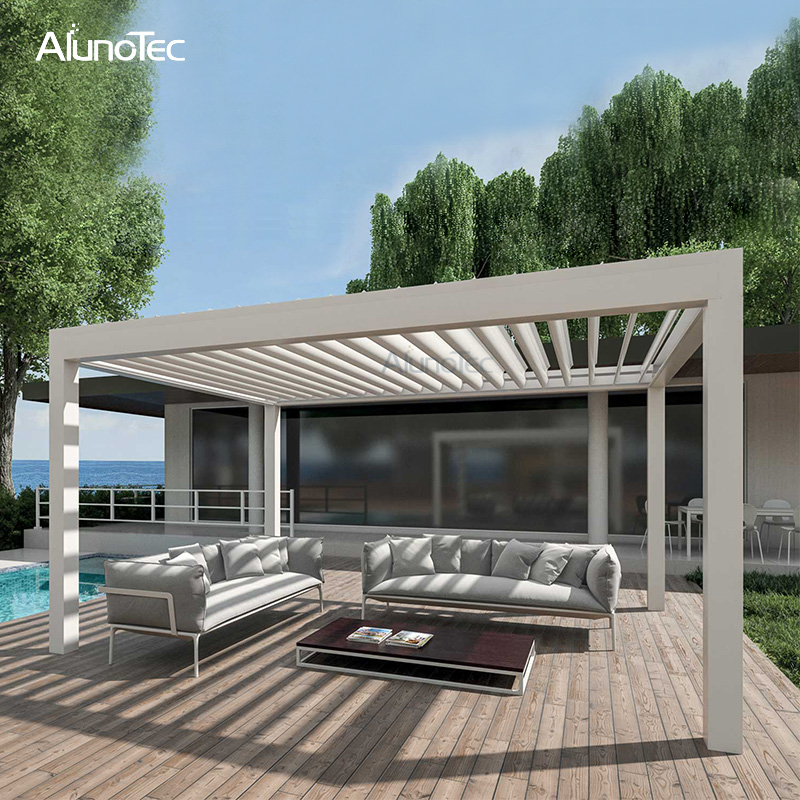 Metal Shade Gazebo Waterproof Awning Louvered Roof For