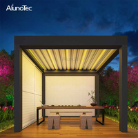 Motorized Awning Folding Louvered Roof Pergola With Led Lights