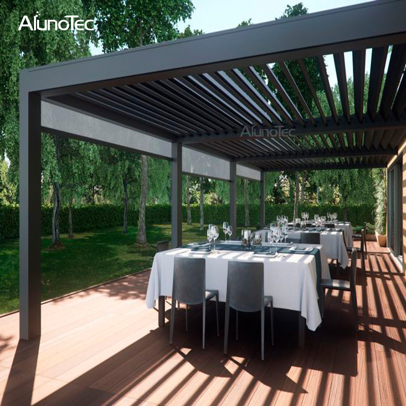 Outdoor Folding Automatic Louvered Pergola For Car Shading